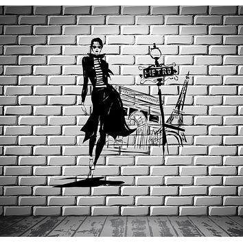 Wall Sticker Vinyl Decal Girl Paris Fashion Street Style Woman Unique Gift (ed441)