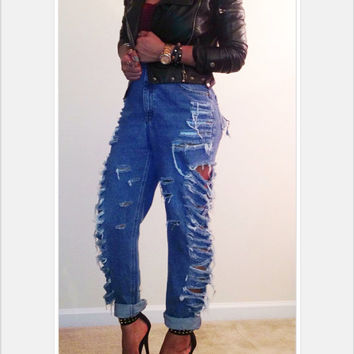 Vintage High Waisted Side Ripped Distressed Boyfriend Jeans Slit Distressed Fringe Cut Up Pants
