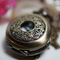 CLEARANCE - Vintage Round Floral Borders Victorian Style Pocket Watch Locket Necklace