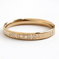 Antique 12k Rosy Yellow Gold Filled Hinged Bangle Bracelet Monogrammed R - Edwardian Early 1900s Vintage Floral Initialed R Flower Jewelry