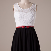 Black and White Dress with Bow Belt