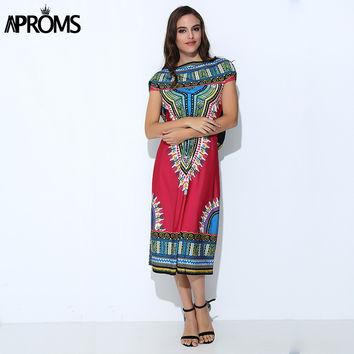 Aproms Boho Gypsy Tribal Hoodie Tunic Dress Women Sundress Traditional African Print Dashiki Dresses Sexy Bodycon Party Dress