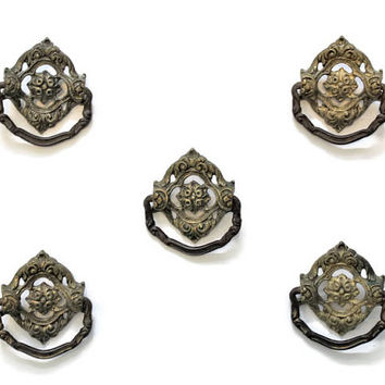 5 Antique Victorian Brass Drawer Pulls, Door Knocker Style