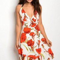 IVORY WITH RED FLOWERS DRESS
