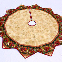 Large Christmas Tree Skirt Quilt, Red Poinsettias,  Elegant 67 inch Holiday Quilted Tree Skirt