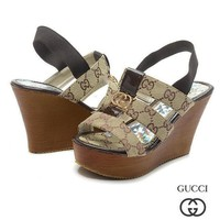 GUCCI Women Fashion Fish Mouth Slipsole Heels Sandals Shoes
