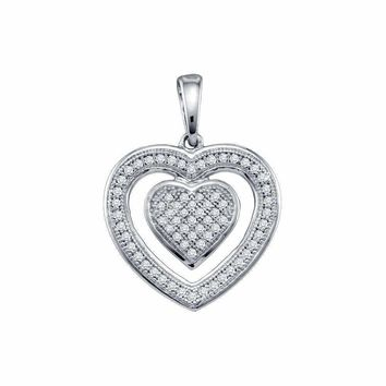 10kt White Gold Women's Round Diamond Framed Double Heart Pendant 1-5 Cttw - FREE Shipping (US/CAN)