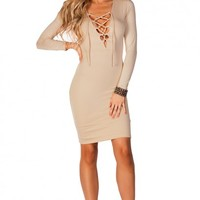 Araceli Nude Lace Up Long Sleeve Jersey Bodycon Dress