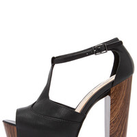Jessica Simpson Dany Black Tumbled Alaska Leather Platform Heels