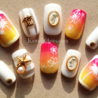 Summer vacation sunset ombre nails with palm trees and starfish full false/fake 3D nails Japanese gel nail art kawaii