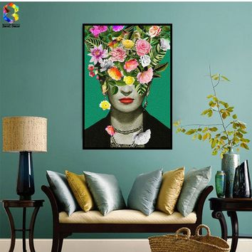 Frida Kahlo Self Portrait Canvas Art Print Painting Poster Flower Wall Picture for Living Room Decoration Home Decor