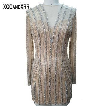 Sparkling Short Prom Dresses 2018 Long Sleeves Mini Party Gown Shining Beading Crystal Formal Dress Plus Size Custom Made