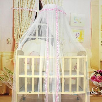 3 Colors New  baby bed Home mosquito net Cute Baby Princess Canopy Crib Netting Dome Bed Mosquito Net for Home Nursery T20