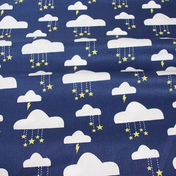 Syunss Dark Blue Clouds Print Cotton Fabric For DIY Tissu Patchwork Telas Sewing Baby Toy Dress Bedding Quilting The Cloth Craft