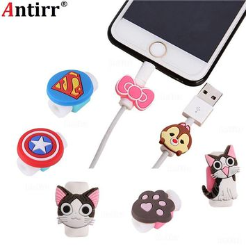 Cartoon USB Charger Cable Winder Protective Case 8Pin Data line Protector For iphone 6 6s 8 plus Earphone Cord Sleeve Wire Cover