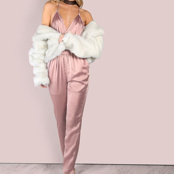 Low Back Cross Back Satin Jumpsuit DUSTY PINK | MakeMeChic.COM