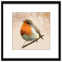 Christmas Robin Printable Art, Bird and Snowflakes Wall Art, Bird Lover Art, Card Making