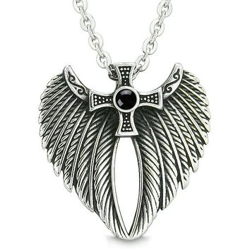 Angel Wings Celtic Viking Cross Magic Powers Amulet Simulated Black Onyx Pendant 18 inch Necklace
