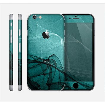 The Abstract Teal and Black Curves Skin for the Apple iPhone 6