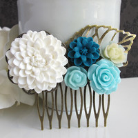 Large White Chrysanthemum. Bridal Wedding Style. Shades of Blue Wedding Collage Antique Bronze Filigree Statement Hair Comb Bridesmaids Gift