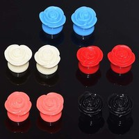 2pcs Acrylic Rose  Ear Plugs Gauges Flesh Tunnel Expanders Piercing New Arrival
