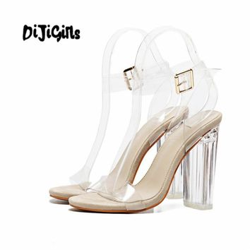 Women  Ankle Strap Perspex High Heels PVC Clear Crystal Concise Classic Buckle Strap High Quality Fashion Shoes size35-40