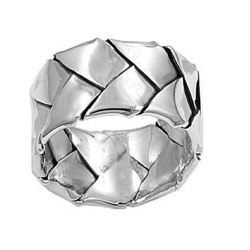 925 Sterling Silver Woven Mat 10MM Ring