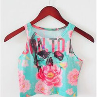 Summer Style Women sexy Top Cropped Tank Printed Letter Sunset Leopard Pattern Skull Flower Rainbow why MLGB Sport Gym fittness