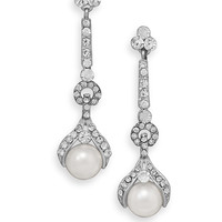Long Crystal and Imitation Pearl Drop Fashion Earrings