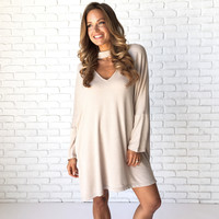 Bonfire On The Beach Sweater Dress In Taupe