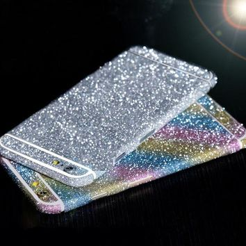 Man Woman Flash TVC 360 Degree Full Body Bling Glitter Skin Phone Sticker For iPhone 7 8 6 Plus X 5S 6S 4S 5C Case Black Silver
