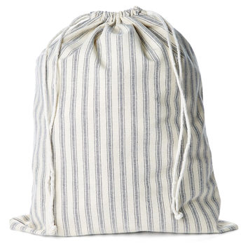French Laundry Home, XL Drawstring Bag, Blue Stripe, Laundry Bags