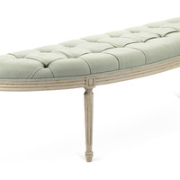 Hugo Curved Bench, Light Blue, Entryway Bench
