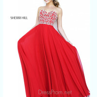 Strapless Sweetheart Formal Prom Gown By Sherri Hill 8555