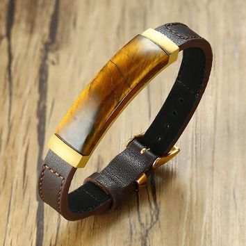Vintage Tiger Eye Genuine Leather Bracelet