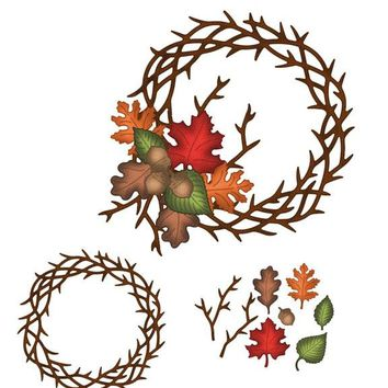 HamyHo Thanksgiving Wreath Frame Metal Cutting Die Stencil for DIY Scrapbooking Photo Album Embossing Paper Decorative Craft New