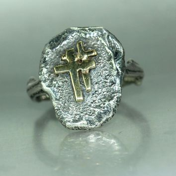 Double Cross Womans Mans Statement Organic Bronze Silver Handmade Twig Band Ring