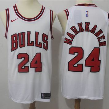 Best Deal Online NBA Authentic Basketball Player Jerseys Chicago Bulls # 24 Lauri Markkanen White