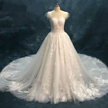 Lace Wedding Dresses Tulle Wedding Gowns Cap Sleeves Bridal Gowns