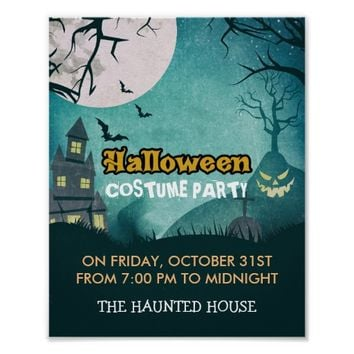 Spooky Haunted House Costume Night Sky Halloween Poster
