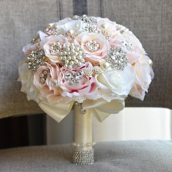 Shabby Chic Ivory Pink Blush Silk Flowers Wedding Bouquet with Vintage Style Brooches