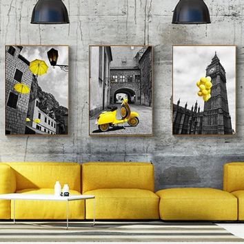 Europe City Scenery Yellow Retro Picture Home Decor Print Poster Nordic Canvas Painting Living Room Bedroom Wall Art Painting