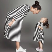 Family Dress Long Sleeve White Black Striped Family Matching Outfits Mother Daughter Clothes Cotton Family Christmas Pajamas