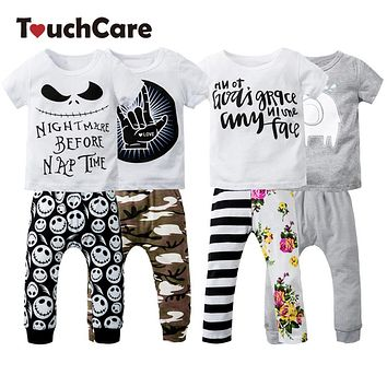 Newborn Cotton Cute Cartoon Baby Boy Girl Clothing Set Infant Elephant Words Printed T-shirt Tops+Pants Short Sleeve Kids Clothes
