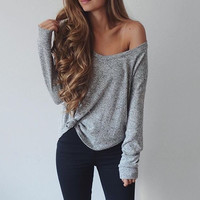 Sexy V-Neck Scoop Neck Long Sleeve Tunic Shirt Top Blouse
