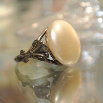 Antique Ring Faux Pearl Art Nouveau Edwardian Ring Circa Early 1900's Turn of the Century Artisan Hand Crafted Estate Heirloom Jewelry