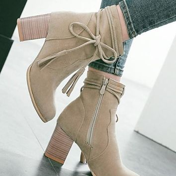 New Women Beige Round Toe Chunky Bow Fashion Ankle Boots