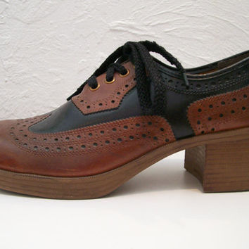 mens 1970s two tone spectator oxford platform shoes 10.5