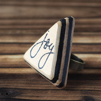 Joy Leather Ring - Adjustable, Handmade Triangle Hand Stamped, Acronym, Custom initial, texting abbreviation, gift for her #Black