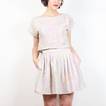 Vintage 80s Two Piece Outfit Pastel Rainbow Striped Crop Top High Waisted Micro Mini Skater Skirt 1980s Mod Matching 2 Piece Set S M Medium